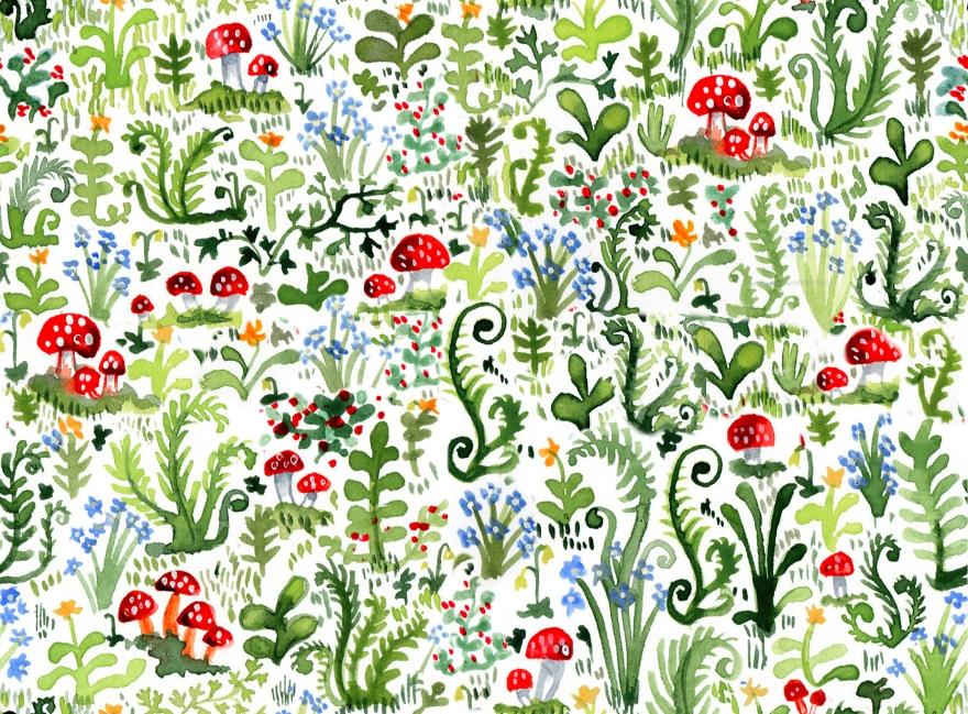 repeat pattern, surface design, moss, mushroom, fern